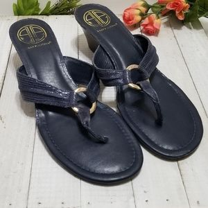 Lilly Pulitzer Low Wedge Sandals Navy
